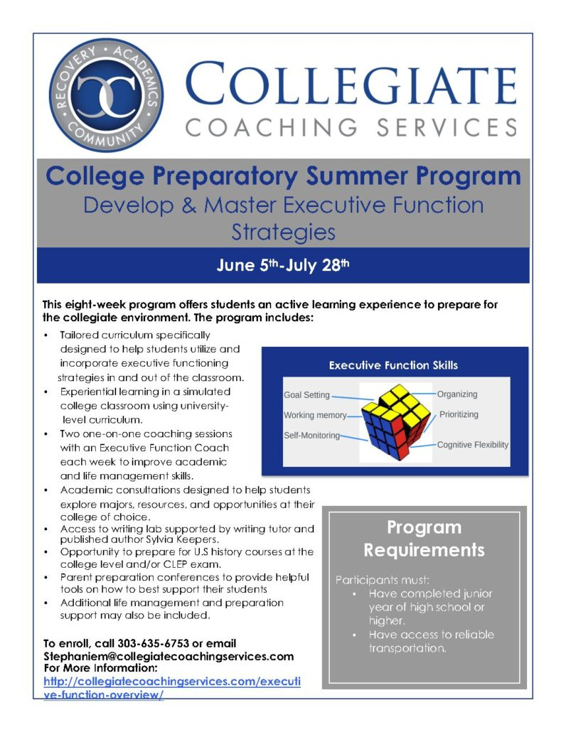Collegiate Coaching Services College Preparatory Summer
